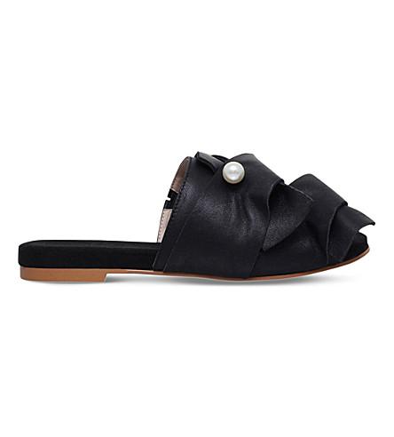 KG KURT GEIGER Naomi embellished suede flat mules (Black