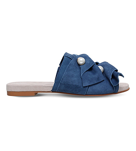 KG KURT GEIGER Naomi embellished leather flat mules (Blue