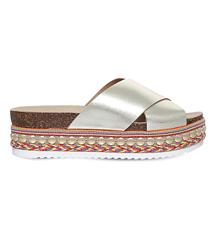 CARVELA Kake flatform leather sandals (Gold