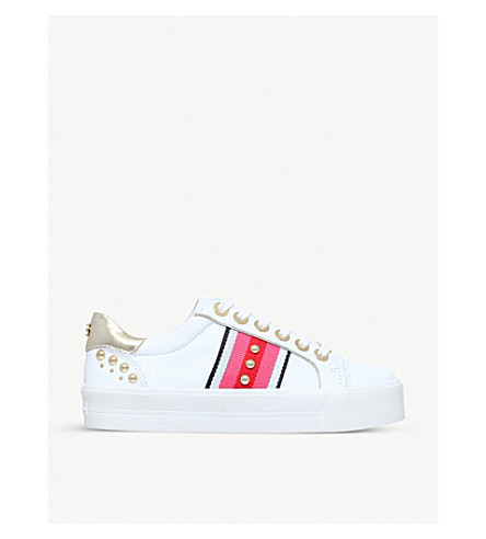 CARVELA 松散的装饰皮革运动鞋 (白色/梳子