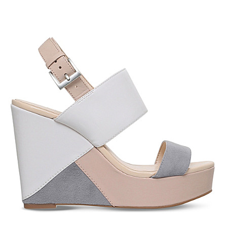 NINE WEST Dreamz leather and suede wedge sandals (Cream comb