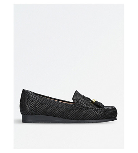 CARVELA COMFORT Cost snakeskin-embossed leather loafers (Black