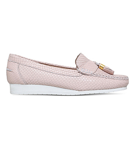 CARVELA COMFORT Cost snakeskin-embossed leather loafers (Nude