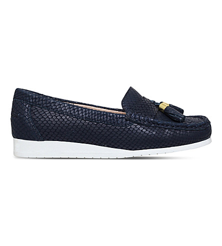 CARVELA COMFORT Cost snakeskin-embossed leather loafers (Navy