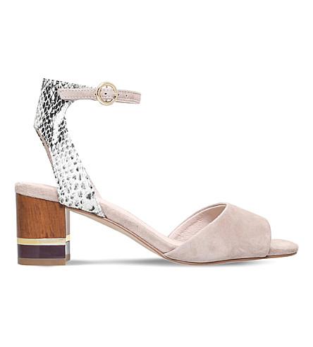 KG KURT GEIGER Nizzy snake-effect suede sandals (Beige