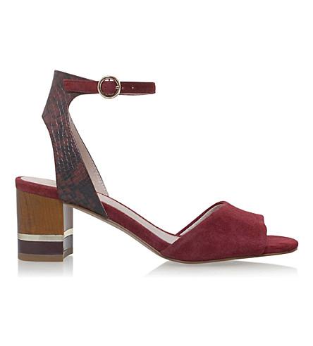KG KURT GEIGER Nizzy snake-effect suede sandals (Wine+comb