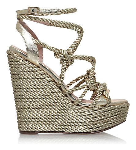 KG KURT GEIGER Notty rope-detail fabric sandals (Gold
