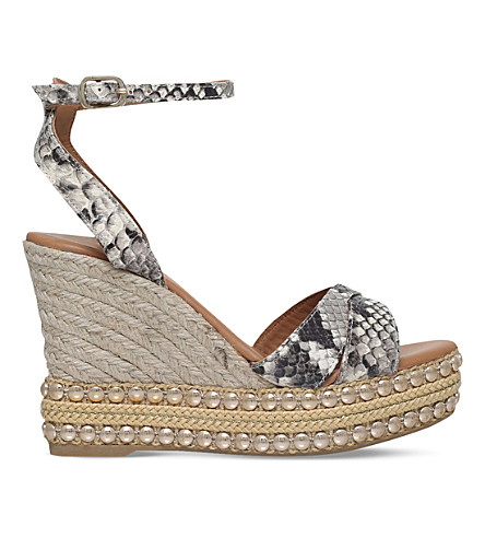 KURT GEIGER LONDON Amelia snake print leather sandals (Beige+comb