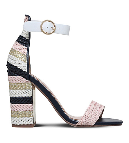 MISS KG Ebony panelled woven raffia sandals (Metal+comb