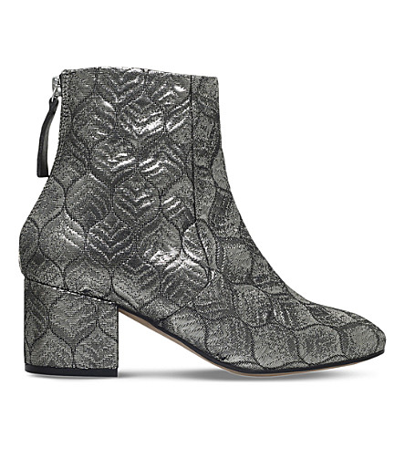 CARVELA Slim leaf-print metallic ankle boots (Silver