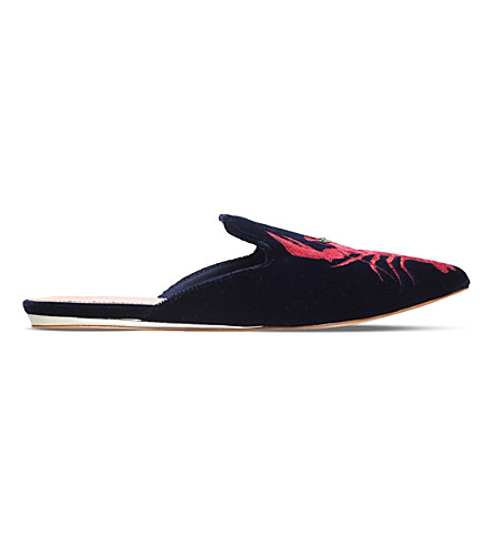 KG KURT GEIGER Otter lobster-embroidered velvet mules (Navy