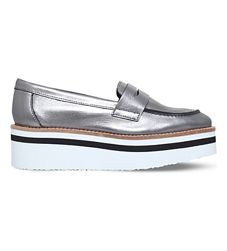 CARVELA Laugh leather flatform loafers (Gunmetal