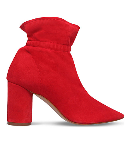 KG KURT GEIGER Raglan suede heeled ankle boots (Red
