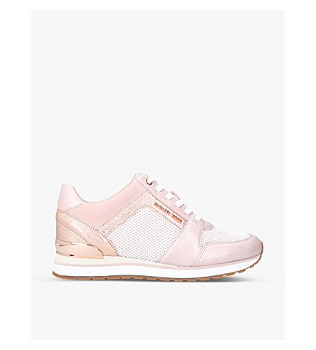 MICHAEL MICHAEL KORS Billie metallic-leather trainers (Pale+pink