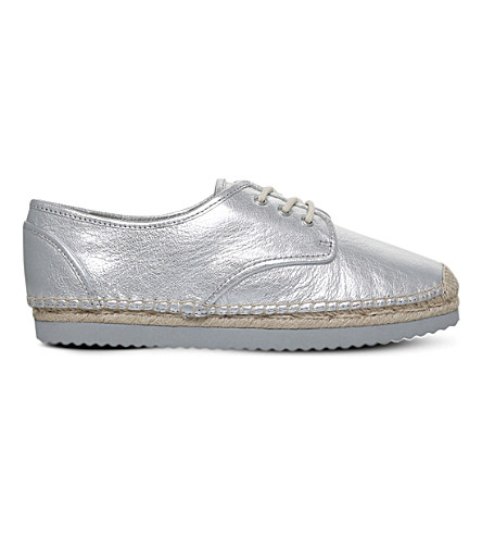 MICHAEL MICHAEL KORS Hastings metallic-leather espadrilles (Silver
