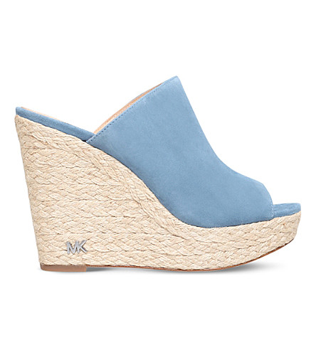 MICHAEL MICHAEL KORS Hastings suede wedge sandals (Denim