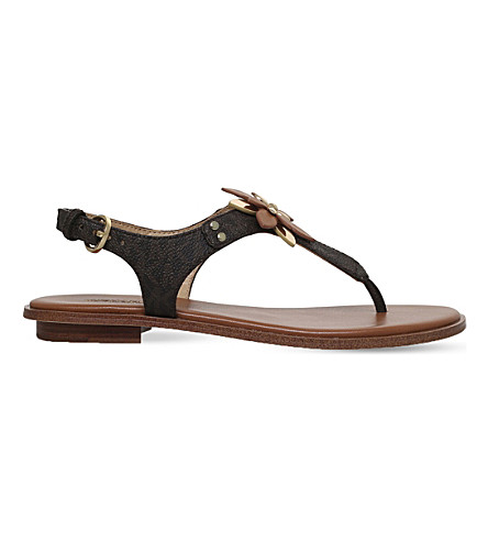 MICHAEL MICHAEL KORS Heidi leather sandals (Dk.brn+com