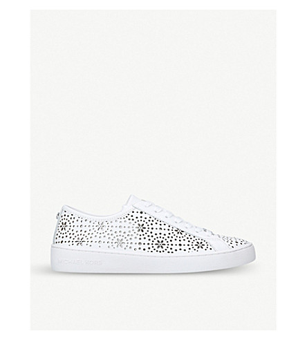 MICHAEL MICHAEL KORS Keaton floral laser-cut leather trainers (White