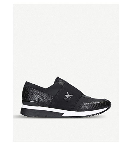MICHAEL MICHAEL KORS MK Logo snakeskin-effect leather and textile trainers (Black