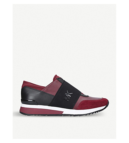 MICHAEL MICHAEL KORS MK Logo-detail leather trainers (Wine