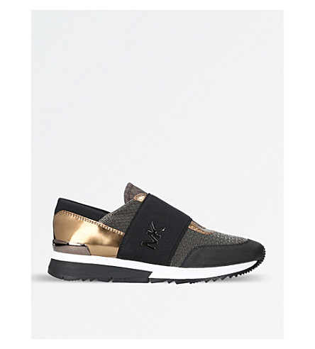 MICHAEL MICHAEL KORS Mk leather and textile trainers (Bronze
