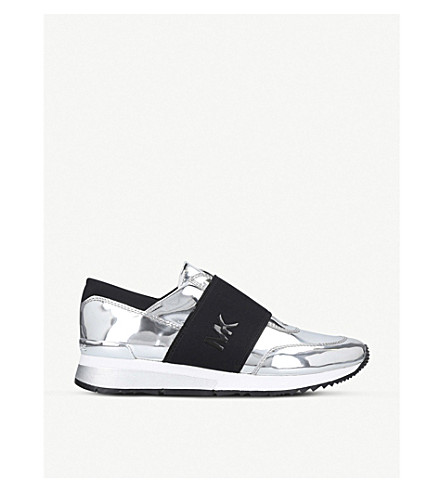 MICHAEL MICHAEL KORS Mk metallic leather trainers (Silver