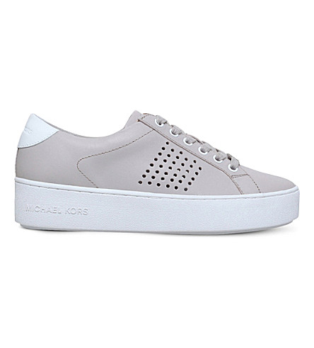 MICHAEL MICHAEL KORS Poppy leather trainers (Grey+mid