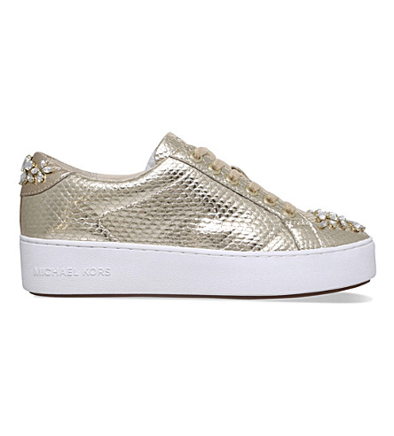 MICHAEL MICHAEL KORS Poppy leather embellished trainers (Gold
