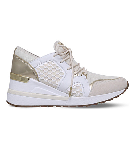 MICHAEL MICHAEL KORS Scout metallic and textile trainers (Cream+comb
