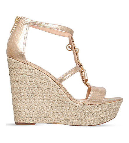 MICHAEL MICHAEL KORS Suki metallic-leather platform sandals (Gold