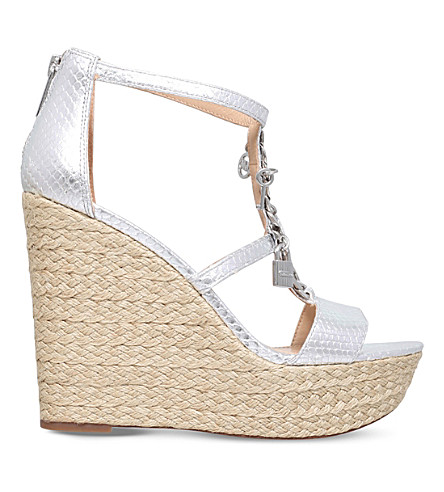 MICHAEL MICHAEL KORS Suki metallic-leather platform sandals (Silver
