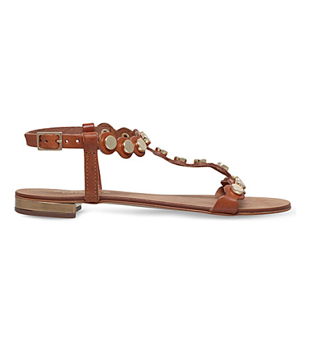 CARVELA Kliff studded leather sandals (Tan