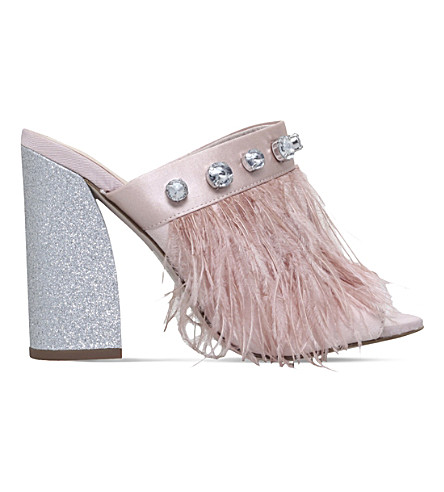 MISS KG Fifi satin heeled mule sandals (Nude