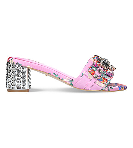 CARVELA Kascade embroidered heeled sandals (Pink+comb
