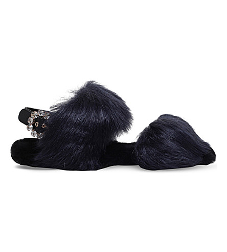 CARVELA Kuddley faux-fur flat sandals (Navy
