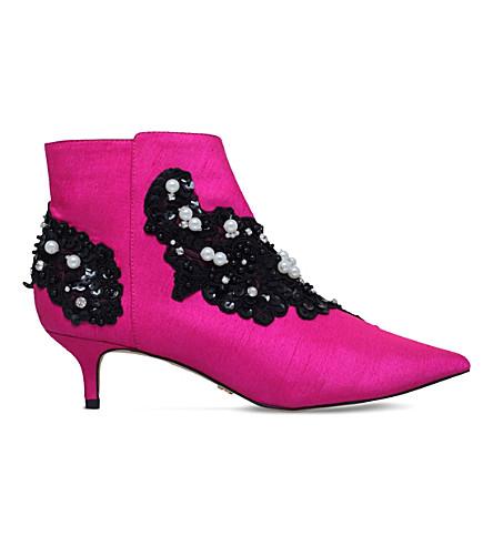 KG KURT GEIGER Rokka embellished satin ankle boots (Pink