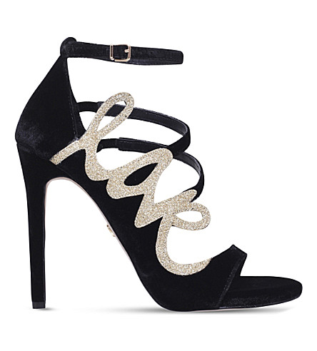 KG KURT GEIGER Hex velvet stilhetto heels (Blk/other