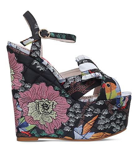 KG KURT GEIGER Halo embroidered platform wedge sandals (Blk/other