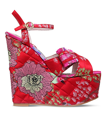 KG KURT GEIGER Halo embroidered platform wedge sandals (Red/other