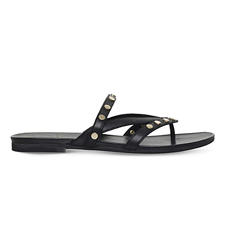 KG KURT GEIGER Modena studded leather sandals (Black