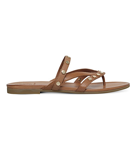 KG KURT GEIGER Modena studded leather sandals (Tan