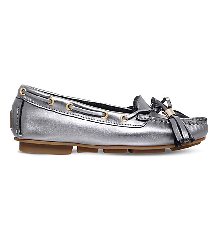 CARVELA Line metallic leather moccasins (Gunmetal