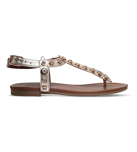CARVELA Kave embellished metallic leather sandals (Gold
