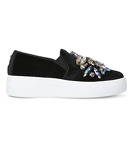 CARVELA Lorraine embellished velvet skate shoes (Black