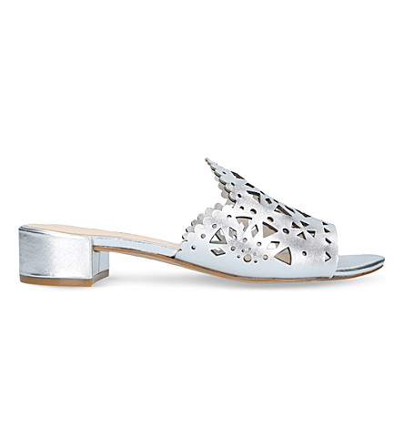 NINE WEST Rownda laser cut metallic mules (Silver