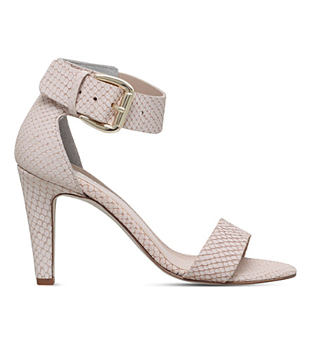 CARVELA Kitty snakeskin-embossed leather sandals (Cream
