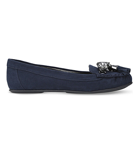 CARVELA Leafy embellished loafers (Navy