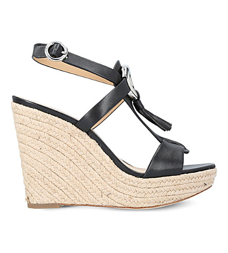 MICHAEL MICHAEL KORS Darien leather wedge sandals (Black