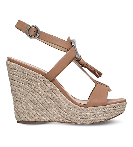MICHAEL MICHAEL KORS Darien espadrille-inspired leather wedge sandals (Tan