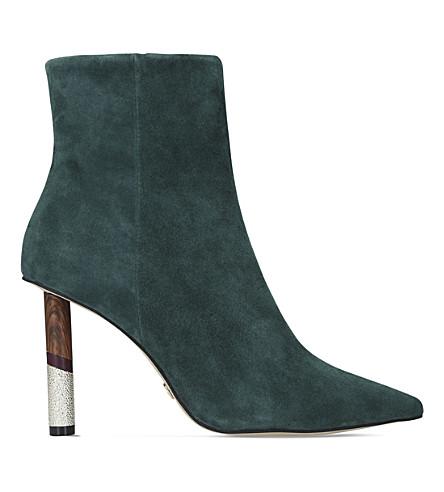KG KURT GEIGER Raine suede mid-heel ankle boots (Green